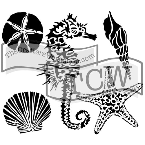 sea-creatures fabric stencil