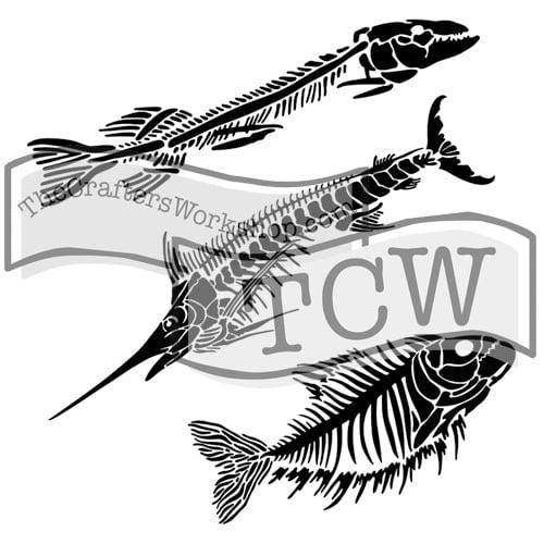 fish-fossils fabric stencil