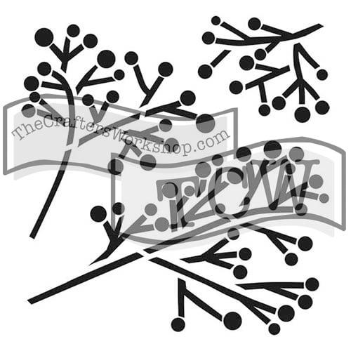 twig-berry fabric stencil