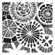 floral spectacle stencil for fabric printing