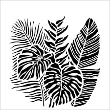 fronds stencil for fabric printing