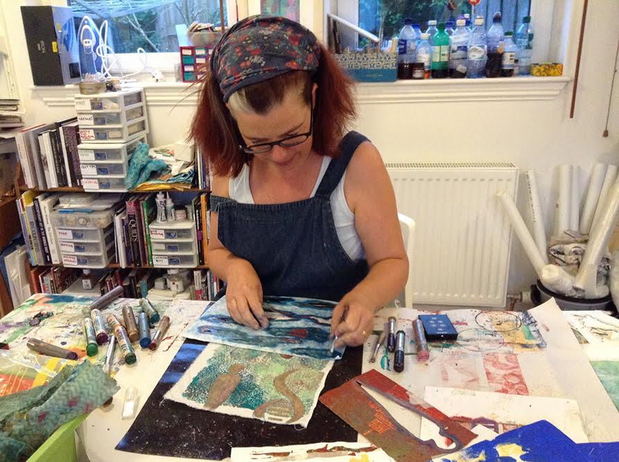 Gillian Cooper in her textile art studio
